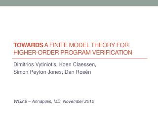 TOWARDS  A Finite model theory for higher-order program verification