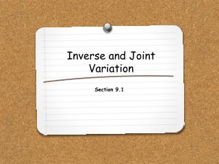 Inverse and Joint Variation
