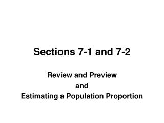 Sections 7-1 and 7-2