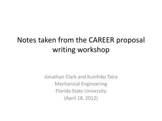 Notes taken from the CAREER proposal writing workshop