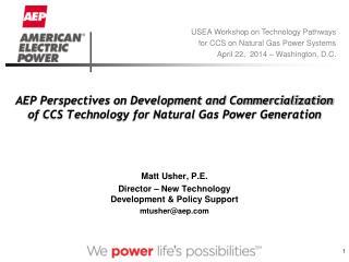 Matt Usher, P.E. Director � New Technology Development & Policy Support mtusher@aep.com