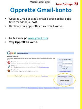 Opprette  Gmail-konto