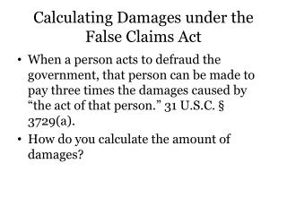Calculating Damages under the False Claims Act