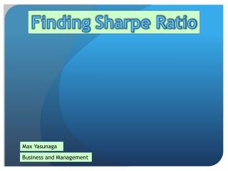 Finding  Sharpe Ratio