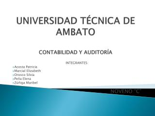 UNIVERSIDAD T�CNICA DE AMBATO CONTABILIDAD Y AUDITOR�A