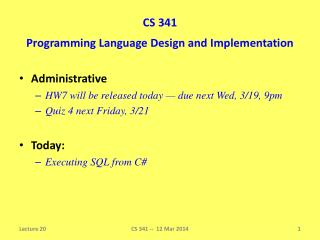 CS 341 Programming Language Design and Implementation