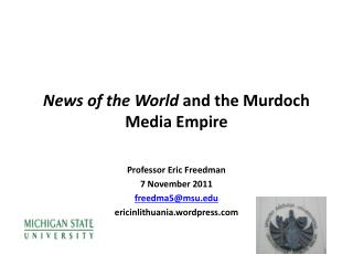 News  of the World  and the Murdoch Media Empire