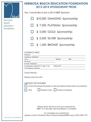 HERMOSA BEACH EDUCATION FOUNDATION 2013-2014 SPONSORSHIP FROM