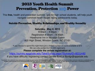 2013 Youth Health Summit Prevention, Protection          Power
