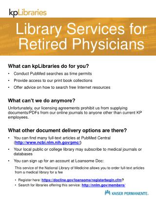 Library Services for Retired Physicians