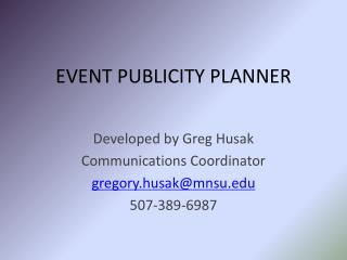 EVENT PUBLICITY PLANNER