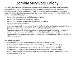 Zombie Survivors Colony: