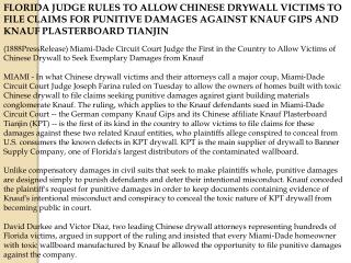 FLORIDA JUDGE RULES TO ALLOW CHINESE DRYWALL VICTIMS TO FILE