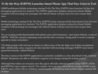 Ps By the Way (PsBTW) Launches Smart Phone App That Pays Use