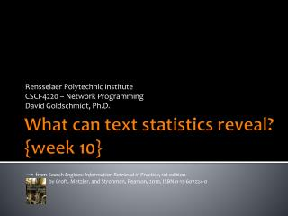 What can text  statistics reveal? {week  10}