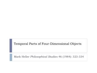 Temporal Parts of Four-Dimensional Objects