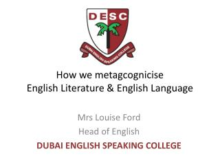How we metagcognicise  English Literature & English Language