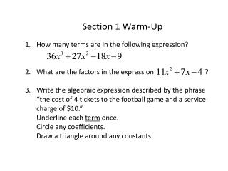 Section 1 Warm-Up