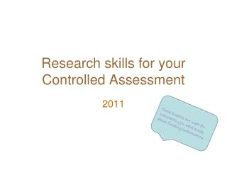 Research skills for your Controlled Assessment