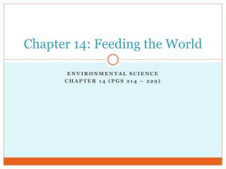 Chapter 14: Feeding the World