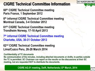 60 th  CIGRE Technical Committee meeting Paris France, 1 September 2012