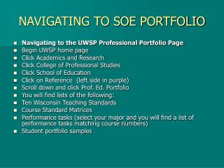 NAVIGATING TO SOE PORTFOLIO Navigating to the UWSP ...