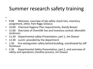 Summer research safety training