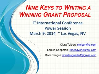Nine Keys to Writing a Winning Grant Proposal