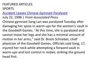 FEATURED ARTICLES SPORTS Accident Leaves Chinese Gymnast Paralyzed