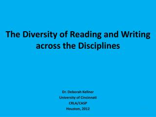 The Diversity of Reading and Writing across the Disciplines