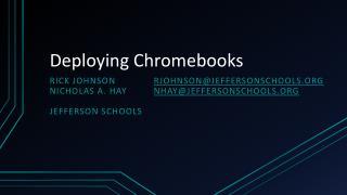 Deploying Chromebooks