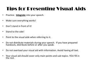 Tips for Presenting Visual Aids