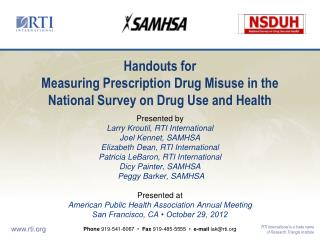 Handouts for Measuring  Prescription Drug Misuse in the National Survey on Drug Use and Health
