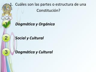 Cuáles son las partes o estructura de una  Constitución ?