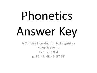 Phonetics Answer Key