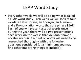 LEAP Word Study