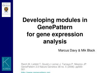 Developing modules in GenePattern  for gene expression analysis