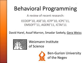 Behavioral Programming A review of recent research: