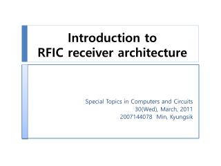 Introduction to  RFIC  receiver architecture