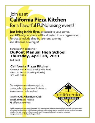 Fundraiser in support of DuPont Manual High School Thursday, April 28, 2011 (All Day)