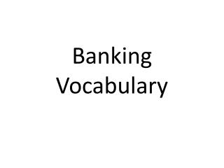 Banking Vocabulary