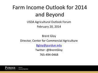 Farm Income Outlook for 2014 and Beyond