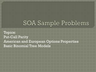 SOA Sample Problems