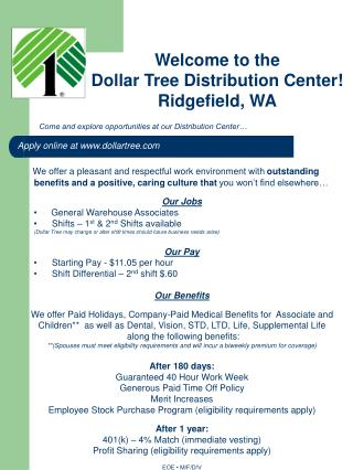 Come and explore opportunities at our Distribution Center…