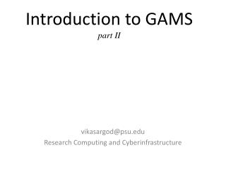 Introduction to GAMS  part II