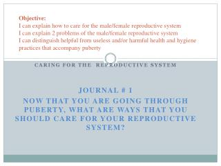 Caring for the  Reproductive System Journal # 1