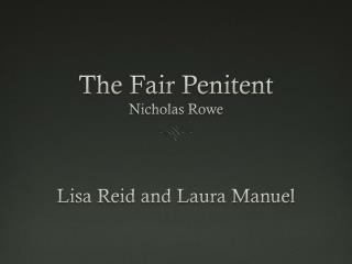 The Fair Penitent Nicholas Rowe