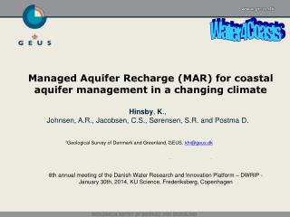 Managed Aquifer Recharge (MAR) for coastal aquifer management in a changing climate