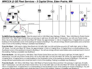 MWCCA @ GE  Fleet Services �  5 Capital Drive, Eden Prairie, MN