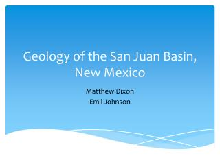 Geology of the San Juan Basin, New Mexico